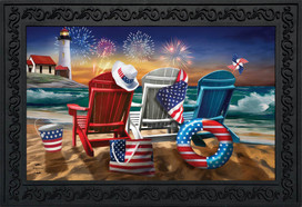 Beachfront Fireworks Summer Doormat