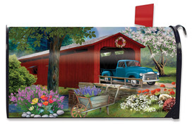 Bridge in Bloom Spring Large / Oversized Mailbox Cover