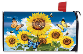 Sunflowers and Bees Spring Large / Oversized Mailbox Cover
