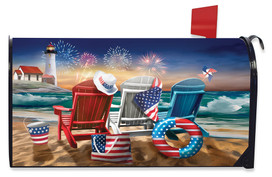 Beachfront Fireworks Summer Large Oversized Mailbox Cover