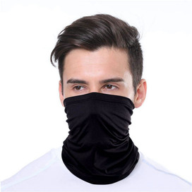 Solid Black Wrap-Around Face Covering Neck Gaiter