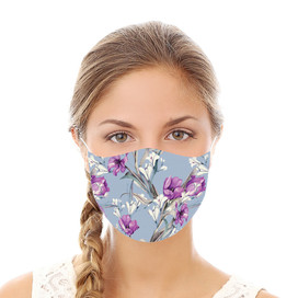 Blue and Purple Floral Reusable Cloth Face Mask