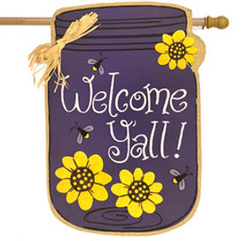 Welcome Y'all Jar Spring Burlap House Flag