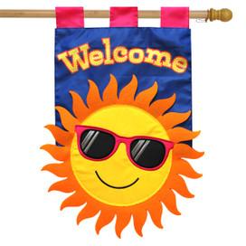 Summer Sun Applique House Flag