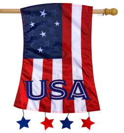 Patriotic Applique House Flag