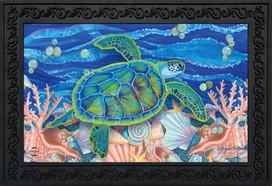 Swimming Sea Turtle Summer Doormat
