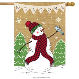 Welcome Snowman Burlap House Flag