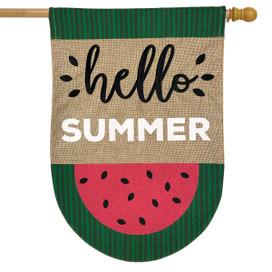 Watermelon Summer Burlap House Flag