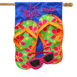 Flip Flops Applique Summer House Flag