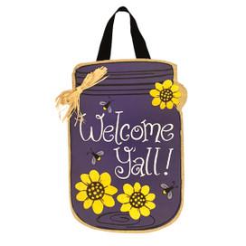 Welcome Y'all Burlap Door Hanger