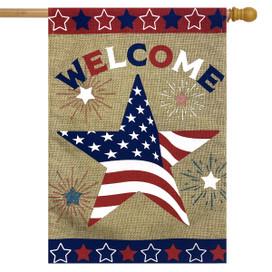 American Star Burlap House Flag