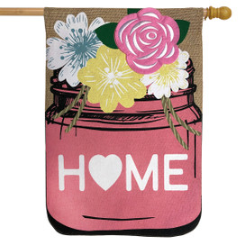 Home Mason Jar Spring Burlap House Flag