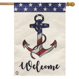 Amercian Anchor Summer Burlap House Flag