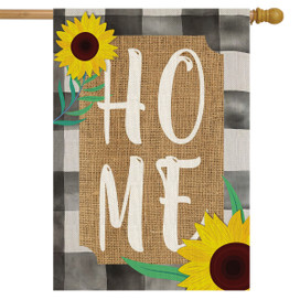 Farm House Home Summer Burlap House Flag