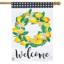 Lemon Wreath Summer Burlap House Flag