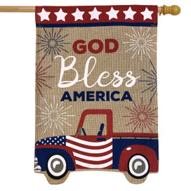 Patriotic Truck Burlap House Flag