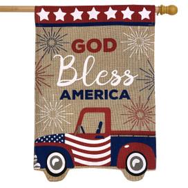 Patriotic Truck Burlap House Flag