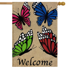 Butterfly Welcome Spring Burlap House Flag