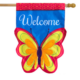 Butterfly Applique Spring House Flag