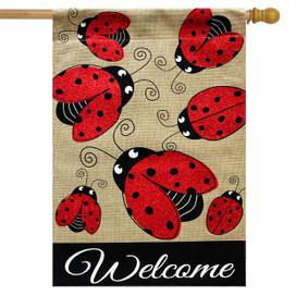 Ladybug Gathering Burlap House Flag
