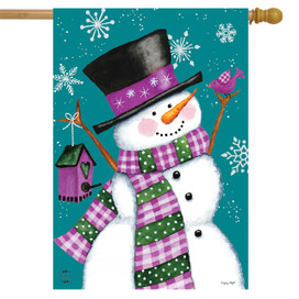 Winter Wonderland Snowman House Flag