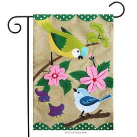 Songbirds Burlap Spring Garden Flag