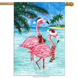 Christmas Flamingos Nautical House Flag