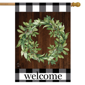 Farmhouse Wreath Everyday House Flag