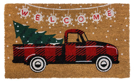 Red Checkered Truck Christmas Natural Fiber Coir Doormat