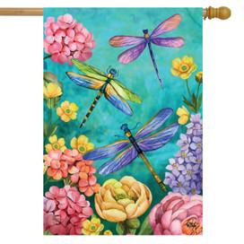 Dragonfly Garden Spring House Flag