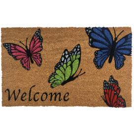 Welcome Butterflies Spring Natural Fiber Coir Doormat