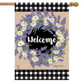 Lavender and Daisies Spring House Flag