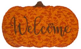Welcome Pumpkin Fall Natural Fiber Coir Doormat