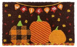 Welcome Pumpkins Autumn Natural Fiber Coir Doormat