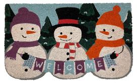 Winter Snowmen Welcome Natural Fiber Coir Doormat