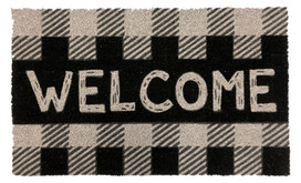 Checkered Welcome Natural Fiber Coir Doormat