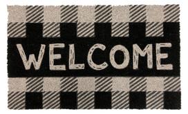 Checkered Welcome Natural Fiber Coir Doormat