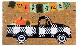 Black Checkered Truck Fall Natural Fiber Coir Doormat