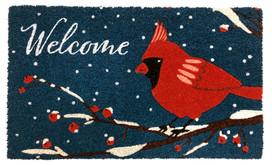 Cardinal Winter Natural Fiber Coir Doormat
