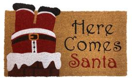 Here Comes Santa Christmas Natural Fiber Coir Doormat