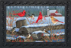 Birds of Winter Cardinals Doormat