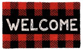 Red Checkered Welcome Natural Fiber Coir Doormat