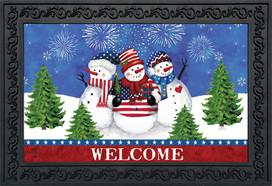 American Snowmen Winter Doormat