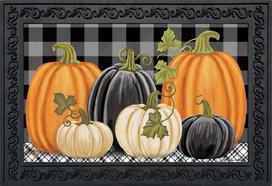 Checkered Pumpkins Autumn Doormat