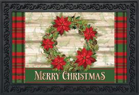 Poinsettia Wreath Christmas Doormat