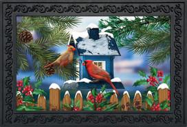 Snow Day Cardinals Winter Doormat
