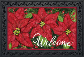 Holiday Poinsettia Christmas Doormat