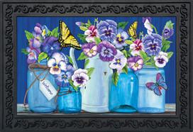 Butterflies and Pansies Spring Doormat