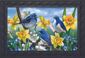 Bluebirds And Daffodils Spring Doormat