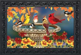 Fall Birdbath Floral Doormat